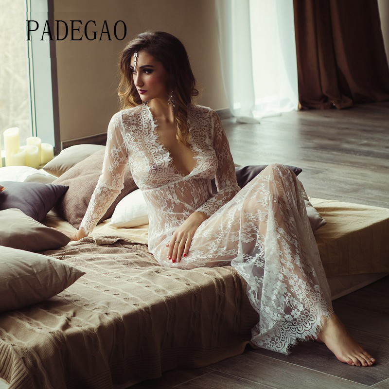 White Lace Sexy Summer Long Maxi Women Night  Dress Plus Big Large Plus Size Clothing Sleepwear Nightdress Lingerie Set