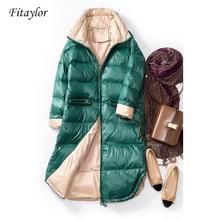 Fitaylor, новинка, зимний ультра-светильник, пуховик на белом утином пуху, женское тонкое длинное пальто, парки, женские теплые парки, зимняя верхняя одежда