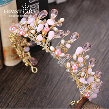 HIMSTORY Handmade Pretty Pink Crystal Bridal Crowns Tiaras Girls Pearl Beads Wedding Hair Accessories Hair Jewelry  Wedding Diad
