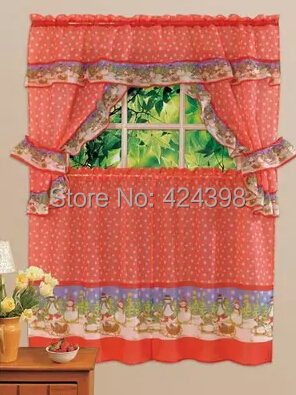 Free Shipping Print Kitchen Coffee Curtain Set Brief Rustic 150 (width) *  90 Cm