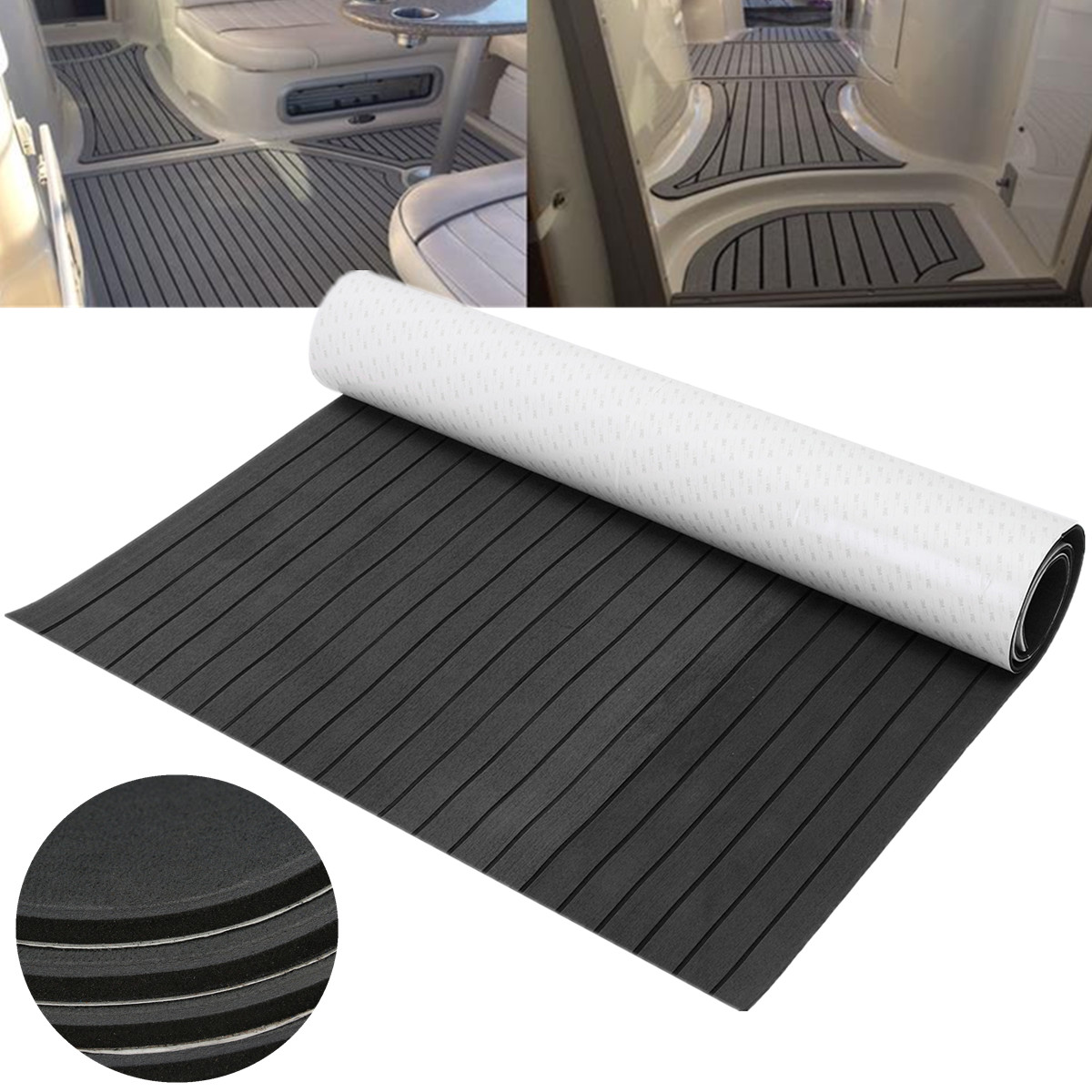 120x240cm Dark Grey and Black EVA Foam Faux Teak Sheet Boat Yacht Synthetic Teak Decking Pad teak house комод maori