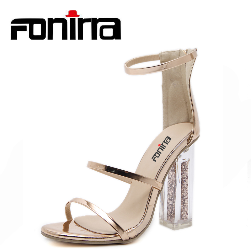 FONIRRA Women Sandals Crystal Transparent Clear Block Thick High Heel Bling Female Ankle Strap Sandals Open Toe Lady Shoes 862