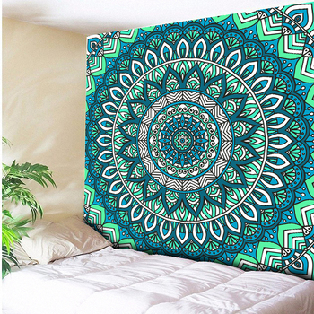 цена на Turquoise Green Psychedelic Wall Hanging Indian Mandala Hippie Tapestry Bohemian Tapestries Beach Towel Throw Blanket Picnic