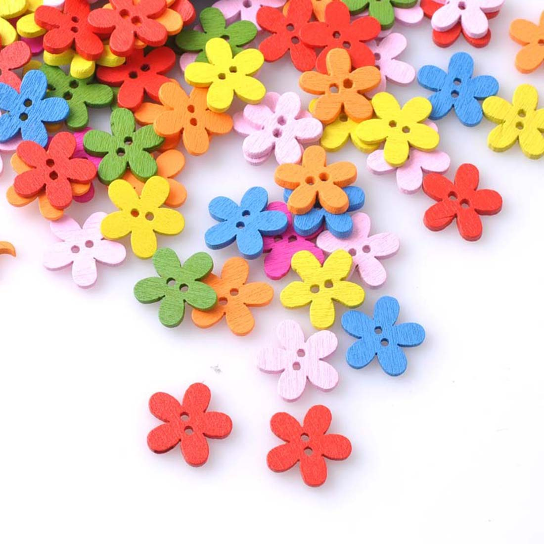 Big sale multicolor 100pcs 2holes mixed mixed flower for Decorative pins for crafts