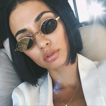 ef1497e0c4 VIVIBEE Vintage pequeñas gafas de sol ovaladas para mujer 2019 Marco de  Metal dorado Retro señoras Mini gafas de sol de moda