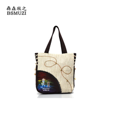New Chinese National Style Women Bag High Quality Leather Top Handle Embroidered Ethnic Handbags Totes Kabelky
