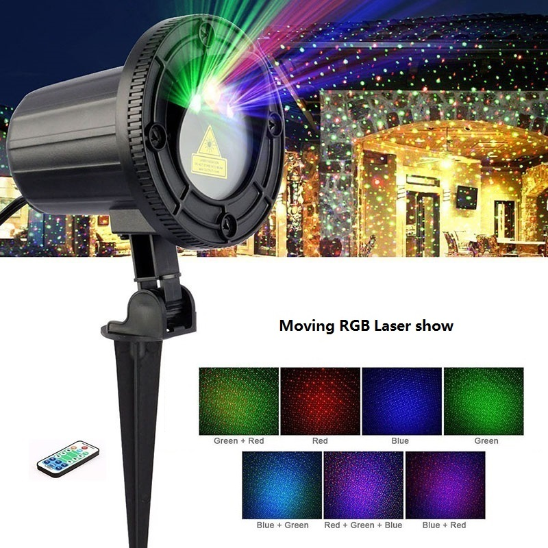 Christmas lights outdoor Moving RGB Stars Laser Projector Remote showers Garden Waterproof IP65 Xmas Holiday Decoration For Home christmas garden laser lights moving rgb stars 20 patterns projector showers outdoor waterproof ip65 rf remote for xmas holiday