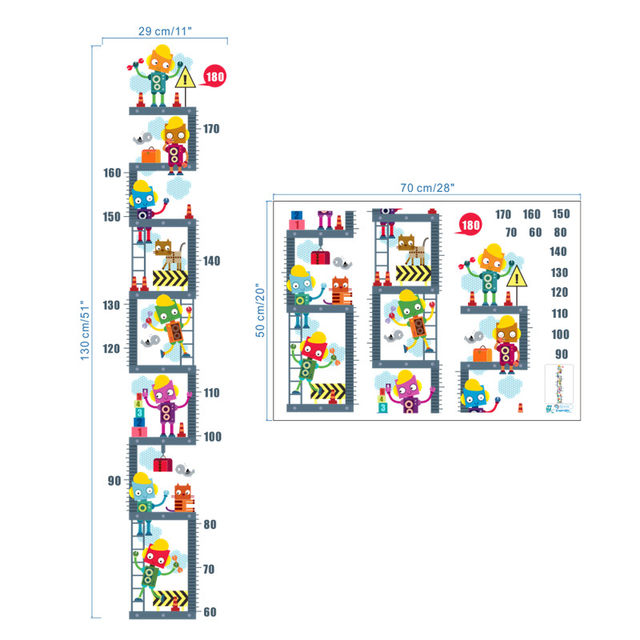 Online Shop Funny Robots Growth Chart For Kids Bedroom Decorations