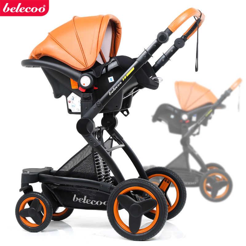 O trole alto do carrinho de bebê da paisagem do couro de beleeco pode sentar-se e dobrar o choque dobro da direção 3 em 1 carrinho de bebê.