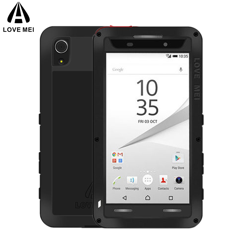 the best attitude ff4cf 9d91b US $26.13 30% OFF|LOVE MEI Aluminum Metal Case For Sony Xperia Z5 Cover  Armor Shockproof Life Waterproof Case For Sony Xperia Z5 Dual E6603  Coque-in ...
