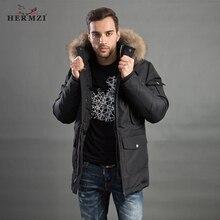 HERMZI 2019 Men Winter Coat Parka Man Jacket Warm Homme Thicken Overcoat Raccoon Fur Collar Plus Size 4XL