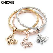 Chicvie 3 шт/компл золотые ажурные браслеты с бабочками и для
