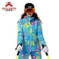 2016 Womens Colorful Flowers Ski Jacket Female Printed Skiing Jackets Blue Climbing Jacket Red Snowboarding Jacket