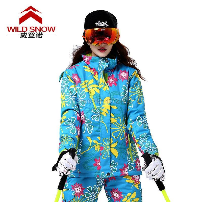 Prix pour 2016 femmes fleurs colorées ski veste femme jaune ski vestes bleu d'équitation snowboard manteau vêtements de ski coupe-vent sport