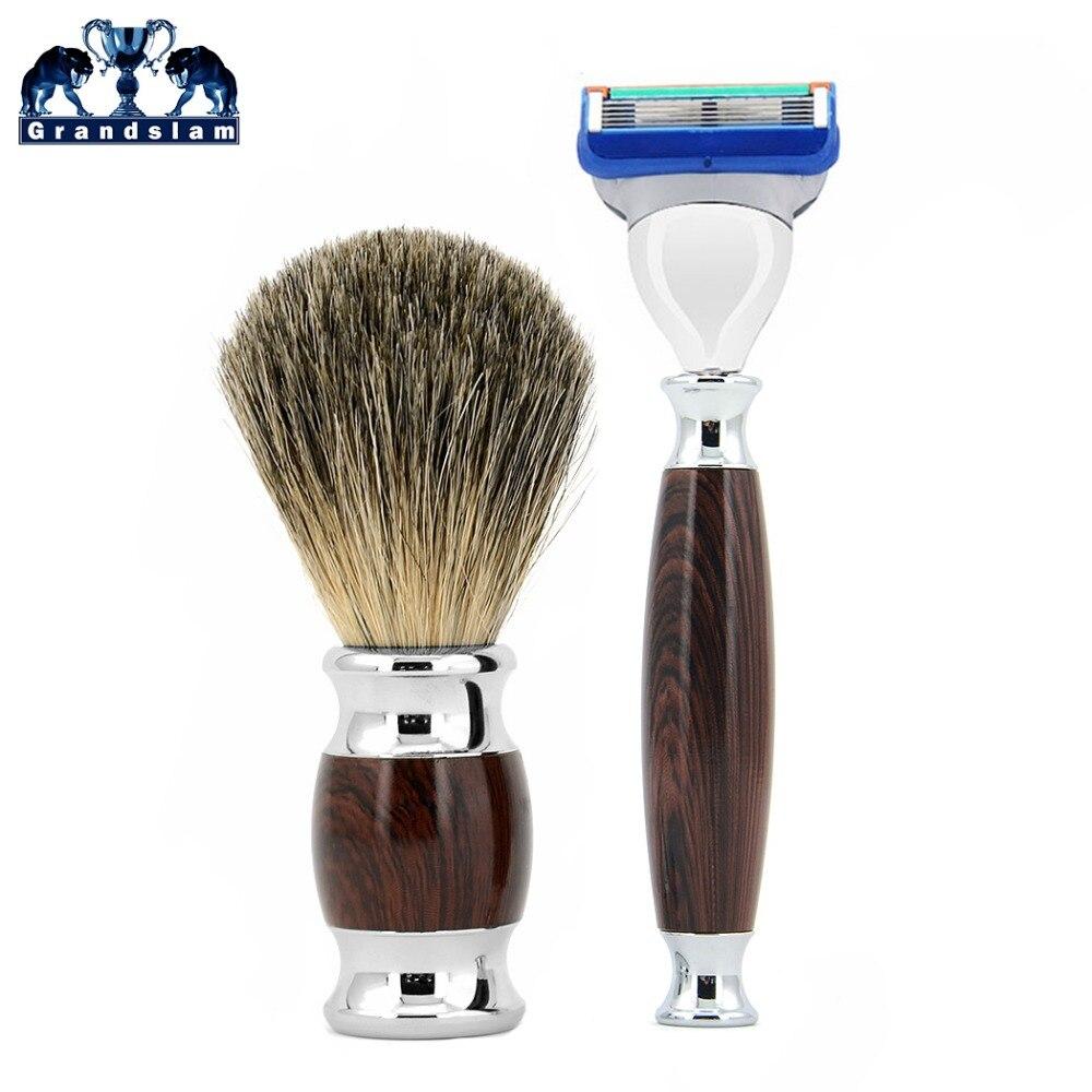 Grandslam Mens Shaving Razors Kit Cartridge Shave Razor 5 Blade Fusion Knife + Badger Hair Shaving Beard Brush + Gift Box gm 91 manual shaving razor knife green black 5 pcs