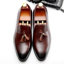 QYFCIOUFU Pointed Toe Genuine Leather Shoes Men Stylish Slip-on Formal Shoes Fashion Tassel Loafers Luxury Mens Dress Shoes