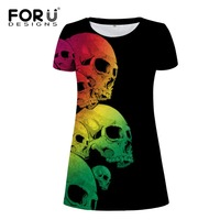 FORUDESIGNS 2017 Summer Women Fashion Dress Colorful 3D Skull Woman Party Dresses Vestidos Sexy Beach Dress