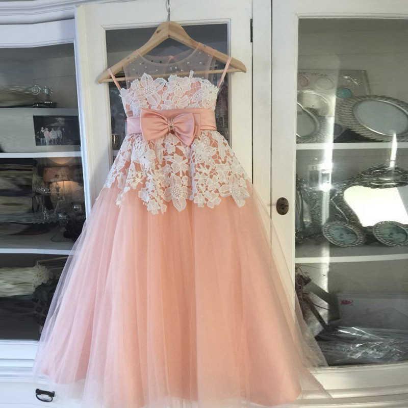 Новые Платья с цветочным узором для девочек, розовые платья для первого причастия для девочек, бальное платье, пышные платья с бусинами и облаками, Vestido De Daminha