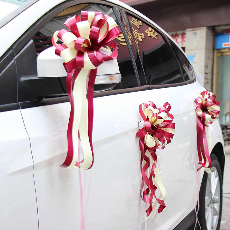 10pcs Diy Artificial Flowers Wedding Car Decoration Flower Ribbon