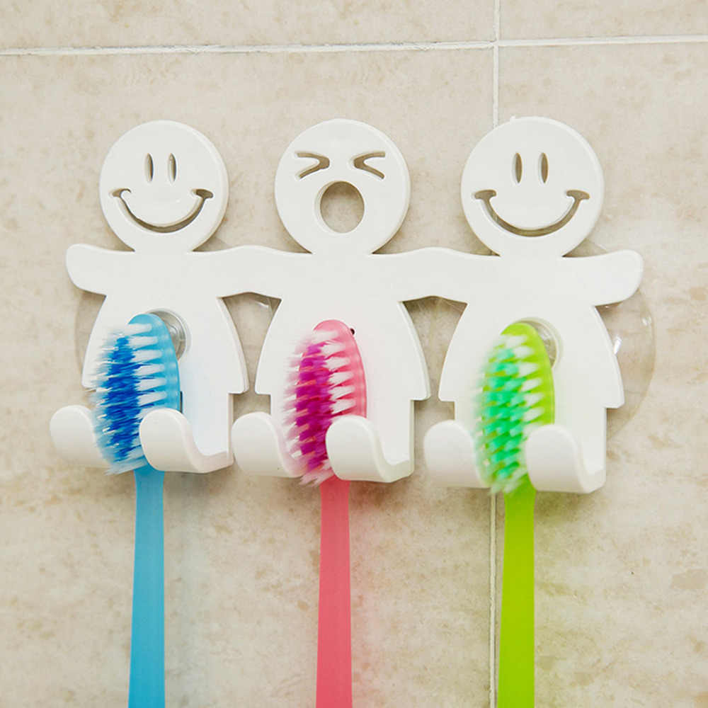 1PC Zestawy łazienkowe Cute Cartoon Sucker uchwyt na szczoteczki do zębów ssania haki 5 pozycji szczotka do zębów uchwyt na akcesoria łazienkowe