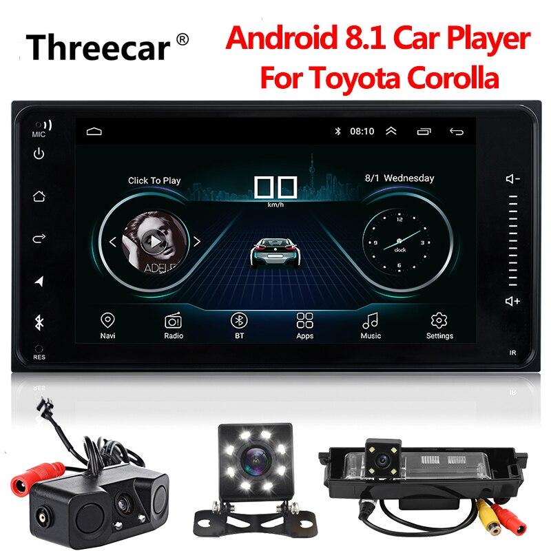 Le plus récent Android 8.1 dvd de voiture pour toyota corolla 2 Din universel autoradio avec navigation Bluetooth Wifi voiture stéréo lecteur gps