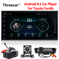 Newest Android 8.1 car dvd for toyota corolla 2 Din Universal car radio with navigation Bluetooth Wifi car stereo gps player