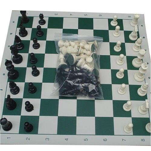 32 pièces d'échecs médiévales/plastique complet Chessmen International mot jeu d'échecs divertissement noir et blanc 64/77MM Chessman 2