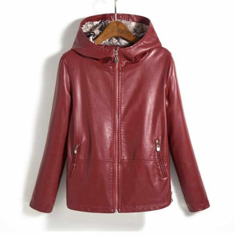 2018 New Spring And Autumn Ladies Leather Jacket  Women Small Leather Clothing Short Slim Motorcycle Leather Coat Women