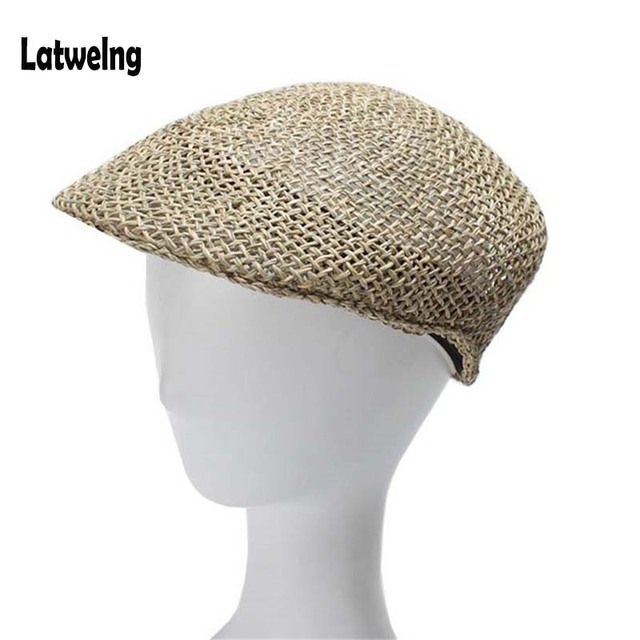 3113d5f9312 NEW Fashion Visor Hats Custom Made Hardness Seaweed Straw Sun Hat For Women  Men High Quality