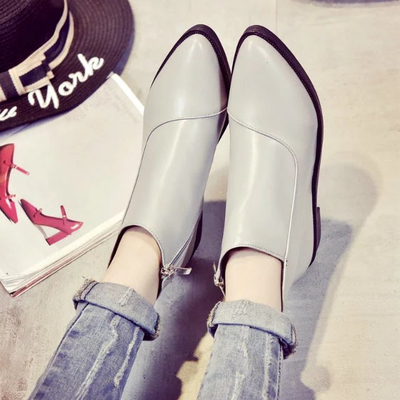 New autumn women's shoes Martin boots British style female pointed low-heeled women's boots and bare boots flat women boots