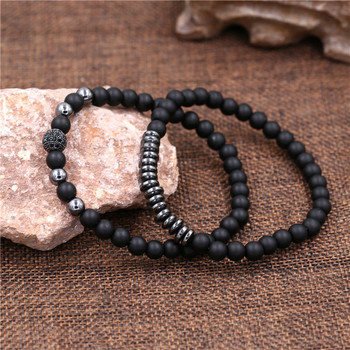 New 3Pc/Sets Micro Pave CZ 8mm Disco Ball & Bar Charms Bracelets Sets 6mm Matte Beads Stone Bracelet Men Women Jewelry bileklik 4
