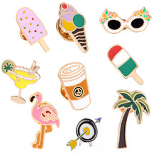 9 Style Cartoon Ice cream glasses flamingo plant juice coffee Pin Creative Badge Button Brooches Jacket Needle Jewelry Gift girl(China)