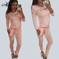 Europe Station Autumn Solid Colour Suits Slim Causal Sexy Chest Cross T-shirts+Long Pants Pencil Pants RS027