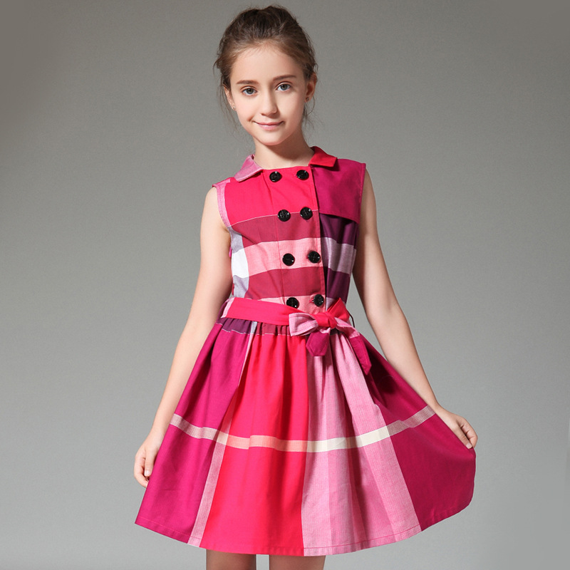 HSSCZL 2019 New spring summer European American style brand girls dress big girl plaid belt drawstring fashion lapel 6-14 YHSSCZL 2019 New spring summer European American style brand girls dress big girl plaid belt drawstring fashion lapel 6-14 Y