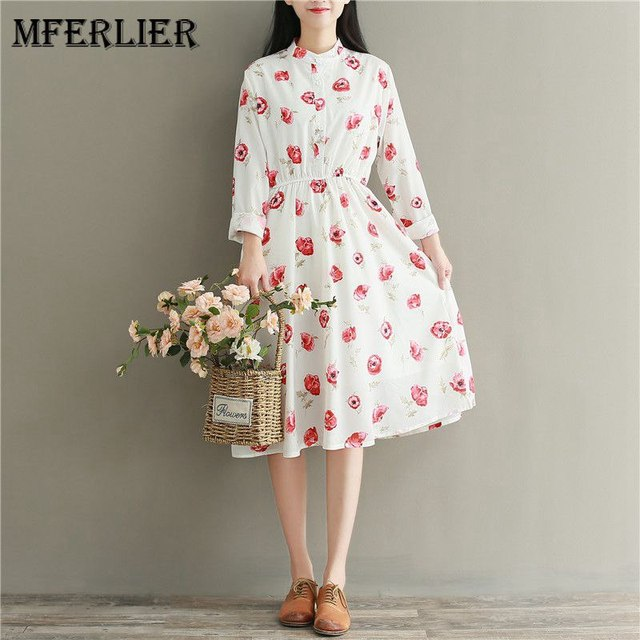 16202dd0090 Mferlier Mori Girl Autumn Artsy Chiffon Dress Brief Stand Collar Long Sleeve  Elastic Waist Floral Print Shirt Dress