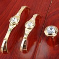 "3.75"" 5"" Modern fashion deluxe rhinestone furnture handles glass crystal drawer cabinet knobs pulls 24K gold dresser door handle"