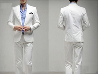 Free shipping Custom suit white groom Dress suit(jacket and trousers)