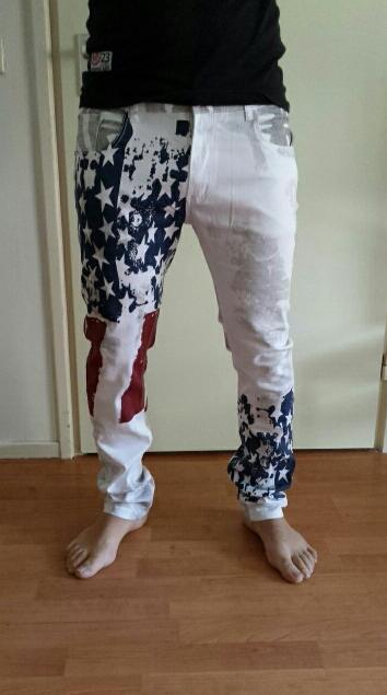 2018 new American flag painted   jeans   brand   jeans   men straight men's casual pants men's denim trousers micro-bomb