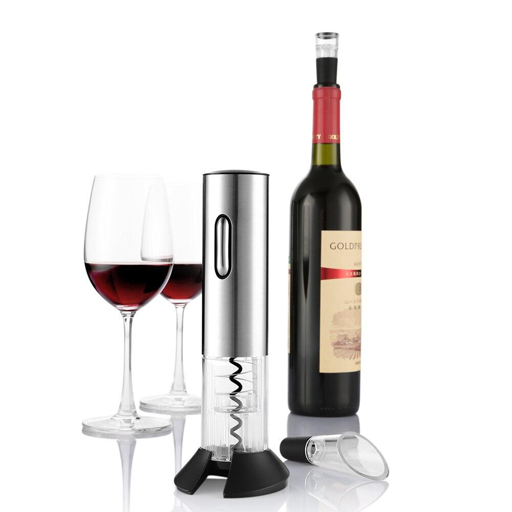 Electric Wine Bottle Opener Corkscrew With Pourer Foil Cutter Vacuum Stopper EN