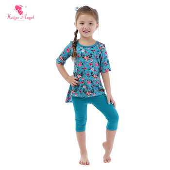 Kaiya Angel Toddler Girl Clothing Sets Peony Flower Children Summer Boutique Outfits Spring Autumn Casual kids Wholesale