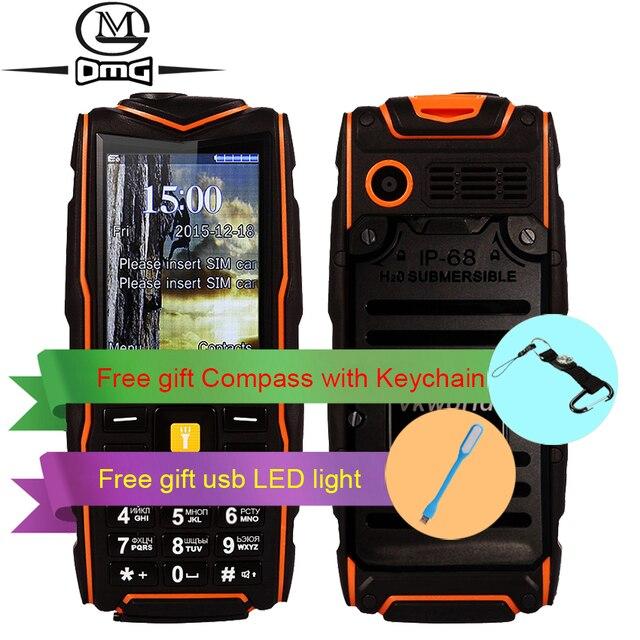 Русская клавиатура IP67 водонепроницаемый противоударный Мобильный телефон 5200 мАч батареи Dual SIM Беспроводной FM фонарик открытый сотовые телефоны