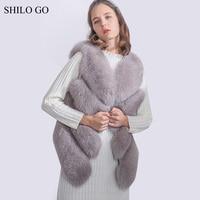 SHILO 이동 모피 코트 여자 겨울 패션 전체 진짜 여우 모피 조끼 민소매 간결한 따뜻한 느슨한 밝은 회색 짧은 조끼