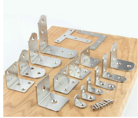 10pcs/lot Stainless Steel Universal Connector Type L 90 Degree Angle Fastener Triangle Corner Bracket With Screws