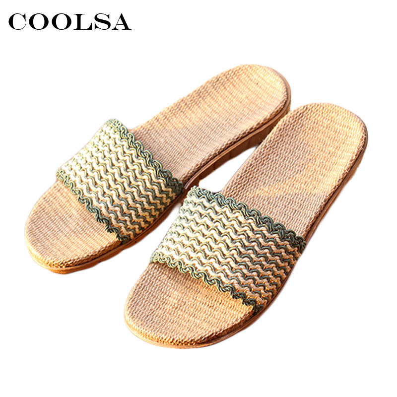 Coolsa New Summer Women Hemp Slippers Striped Linen Flip Flop Flax Fabric Non-slip Slides Indoor Female Casual Beach Sandals Hot mashimaro new arrival men s linen slippers cotton fabric hemp slippers beach non slip indoor slippers men s fashion slippe