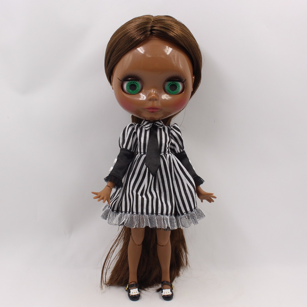 Neo Blythe Doll with Brown Hair, Black skin, Shiny Face & Jointed Body 2