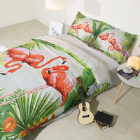 3 Parts Per Set Popular Flamingo Boho Style 3d bedsheet Set