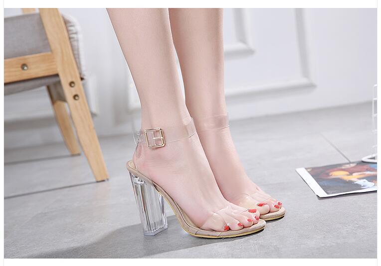 HTB1rqlsoTnI8KJjSszbq6z4KFXag Aneikeh 2020 PVC Jelly Sandals Crystal Open Toed High Heels Women Transparent Heel Sandals Slippers Pumps 11CM Big Size 41 42
