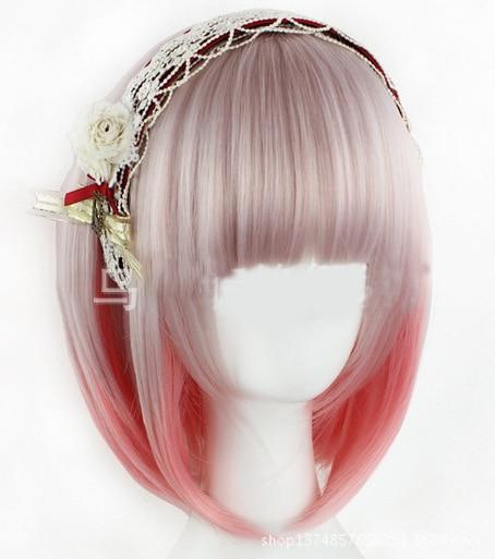 Lolita Sweet Daily Wig Gradient Pink Brown Girl Short Synthetic Hair Cosplay Harajuku Wig Costume Play Wigs Halloween