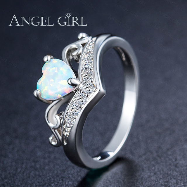Fresh ANGEL GIRL Heart Shaped Fire Opal Engagement Ring Silver Color  DE79