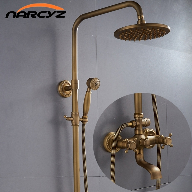 Free shipping Shower Faucets Antique Brass Finish Bathroom Rainfall With Spray Shower Durable Brass  Faucet Set XT304